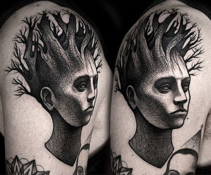 Beautiful Black Ink Tattoos by Kamil Czapiga