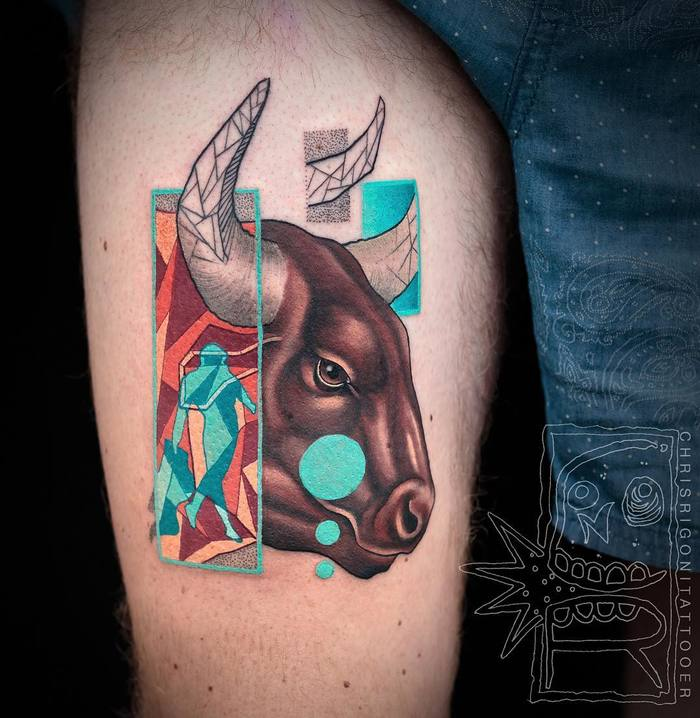 Colorful Surreal Tattoo by Chris Rigoni