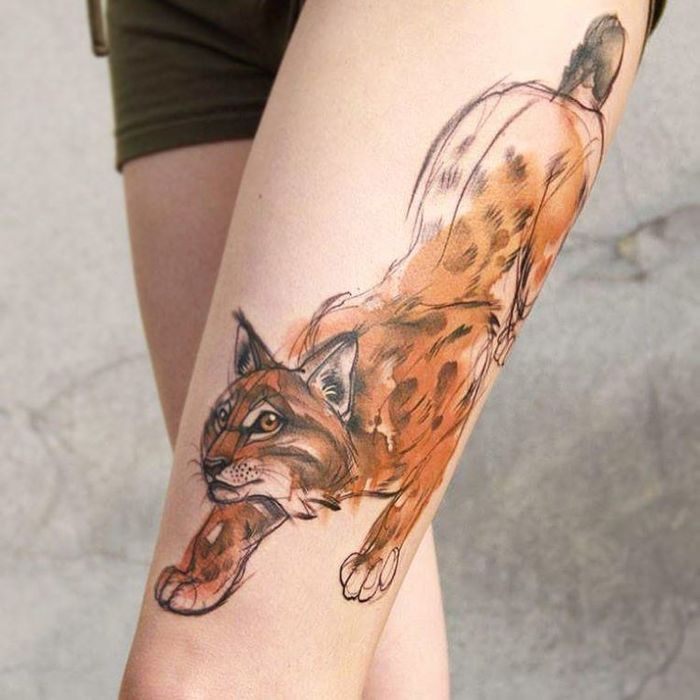 Stunning watercolor animal tattoos by Aga Yadou