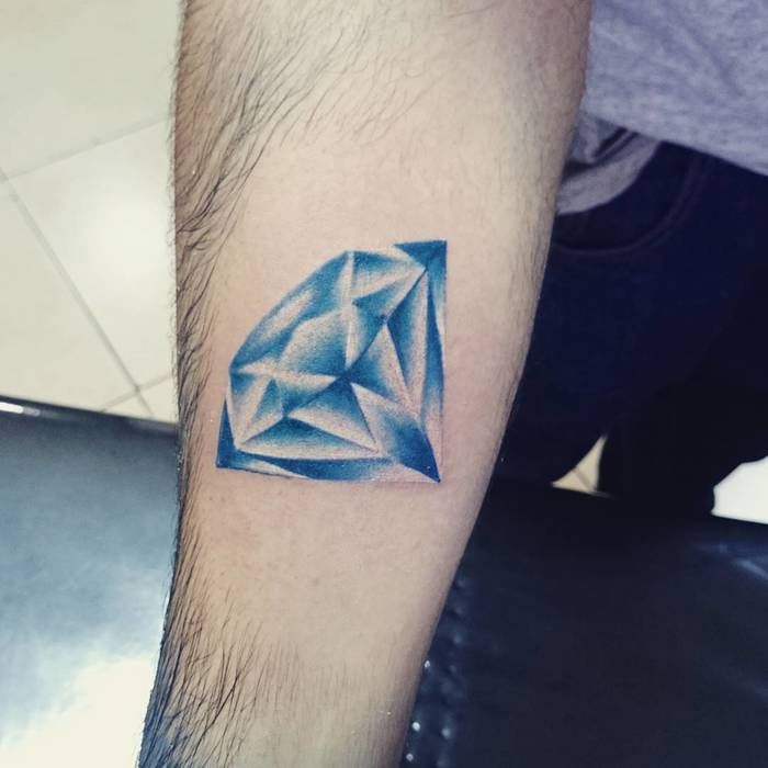 Blue Ink Diamond Tattoo by virpaiz