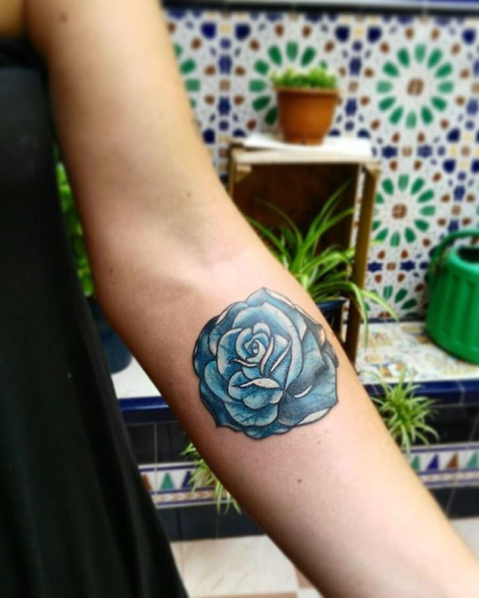 Blue Ink Rose Tattoo by Carolina Carmona