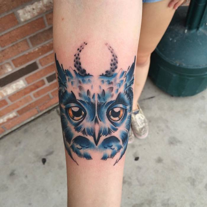Blue Ink Owl Tattoo by Justthree Tatau