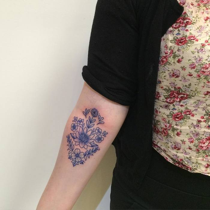 Blue Ink Floral Tattoo by juju.tattoos