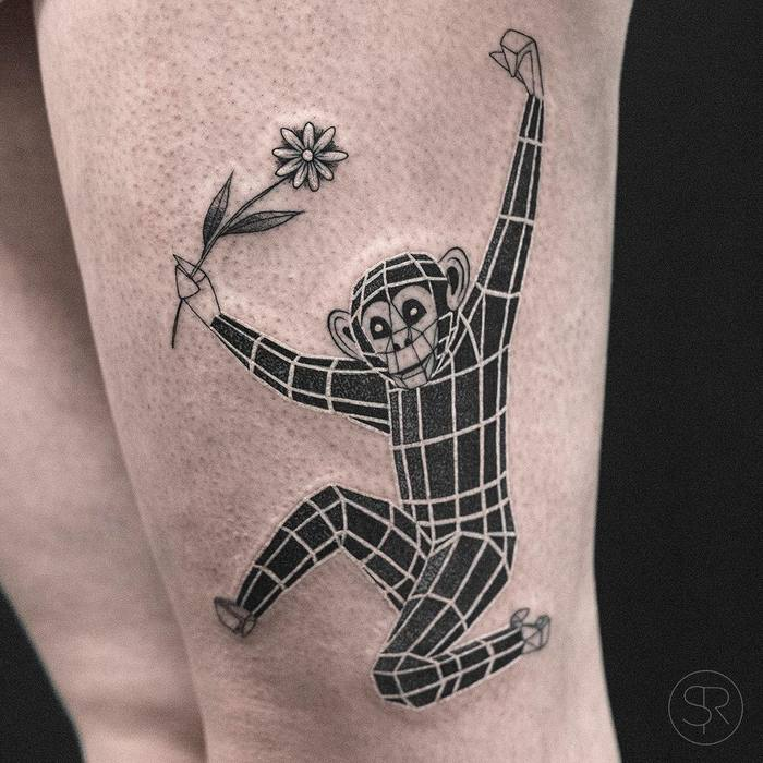 3D Geometric Animal Tattoos By Sven Rayen