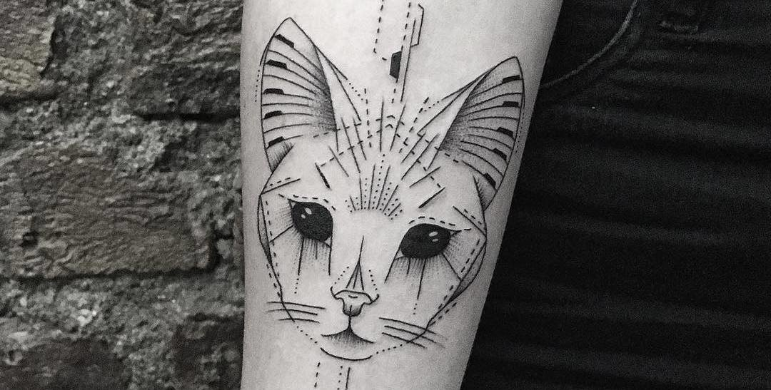 Geometric Cat Tattoo by Bicem Sinik
