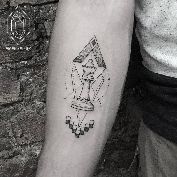 Geometric Queen Chess Piece Tattoo by Bicem Sinik
