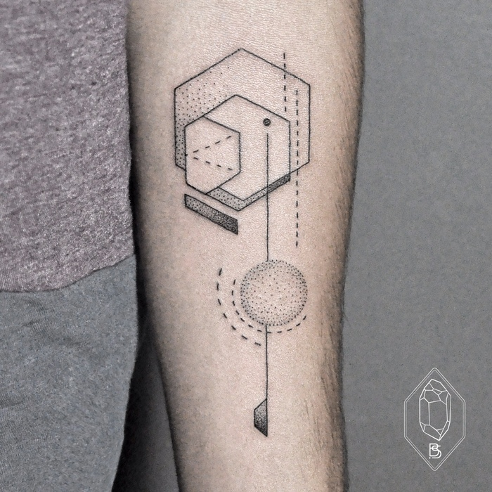 Geometric Tattoo on inner forearm by Bicem Sinik