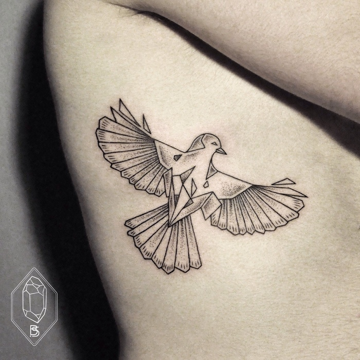 Geometric Bird Tattoo by Bicem Sinik