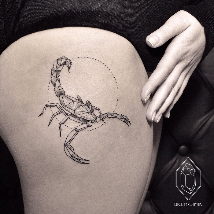 Geometric Scorpion Tattoo by Bicem Sinik