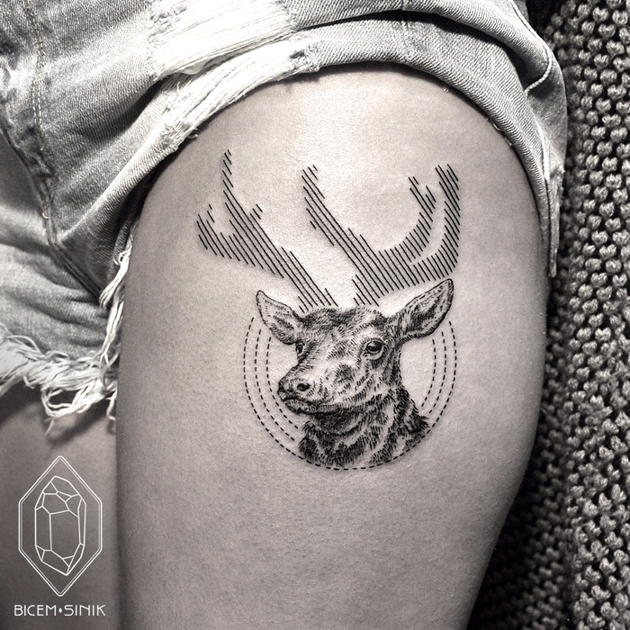 Geometric Deer Tattoo by Bicem Sinik