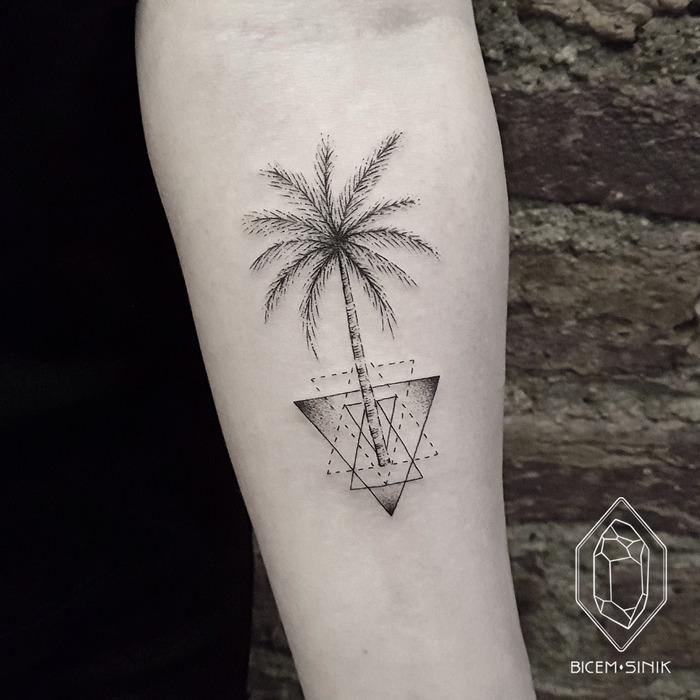 Geometric Palm Tree Tattoo by Bicem Sinik