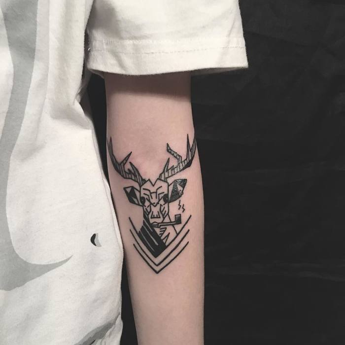 Old School Deer Tattoo on Arm by ttaooist_gu