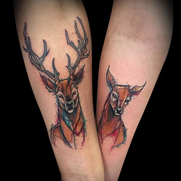 Lovely Deer Couple Tattoo by César Castillo Marquez
