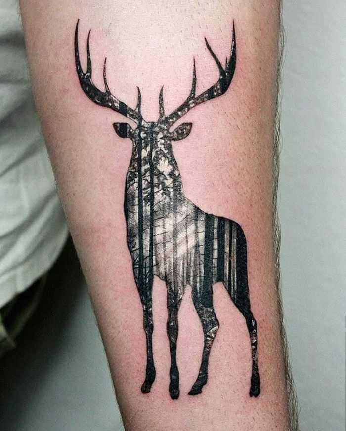 Double Exposure Deer Tattoo by Tomasz