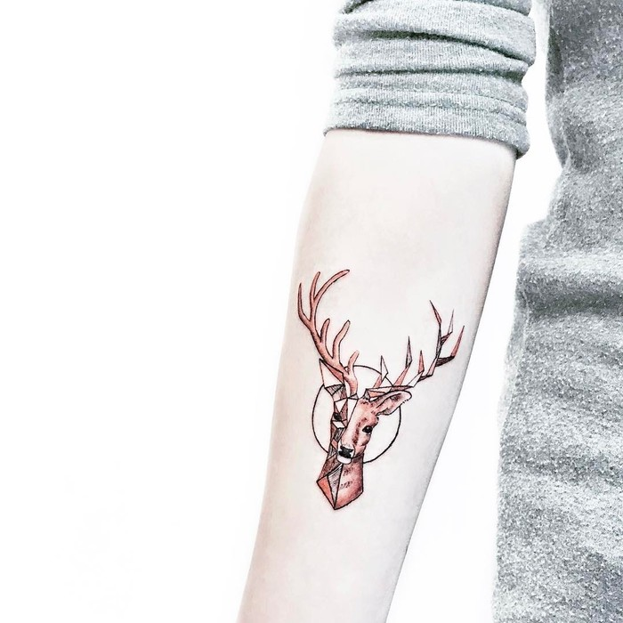 Geometric Deer Tattoo on Inner Forearm by HanZ