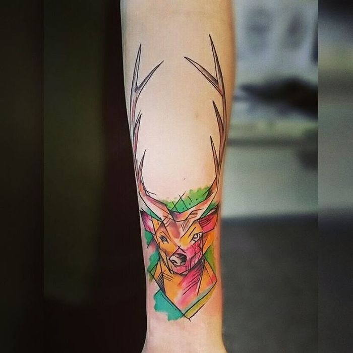Watercolor Deer Tattoo Design by Andrzej Cymon
