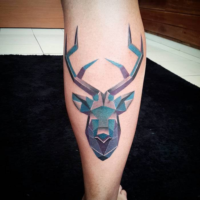 Colored Geometric Deer Tattoo by Diogo Rocha
