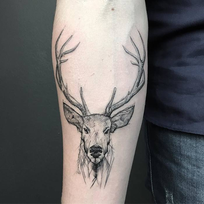 Sketch Style Deer Tattoo by Resul Odabas