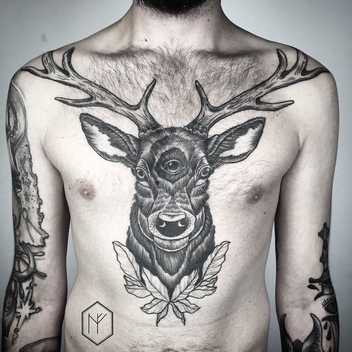 Big Three-Eyed Deer Tattoo on Chest by Henja Fin