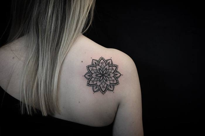 Mandala tattoo on the back shoulder by Luciano LCN