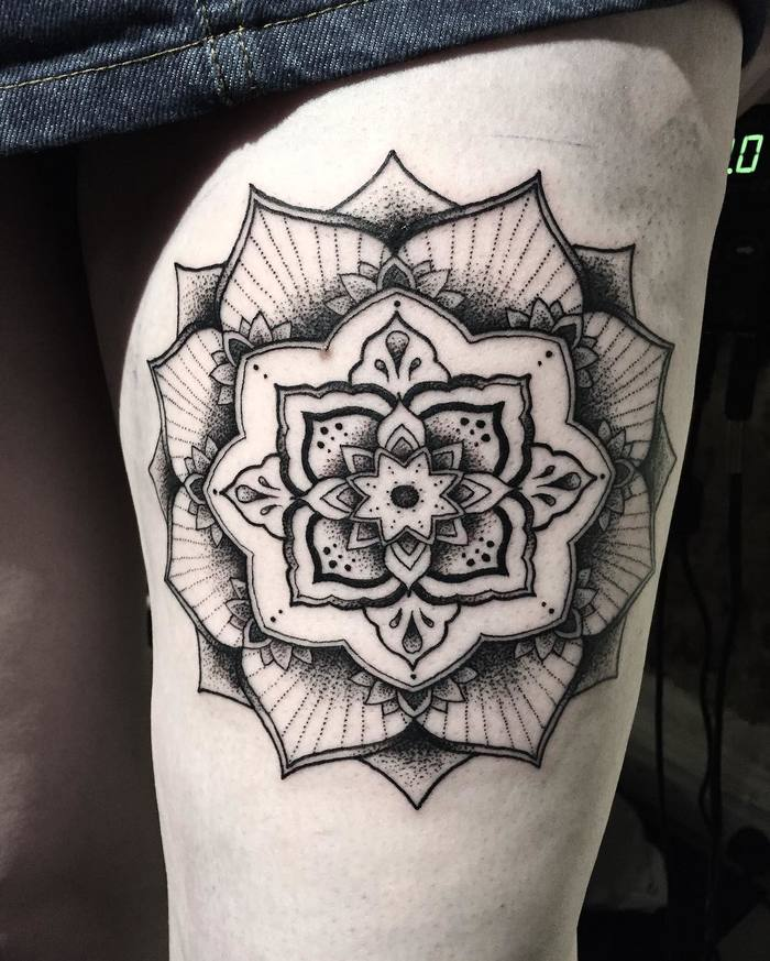 Left thigh mandala tattoo by cxllxm_tattoo