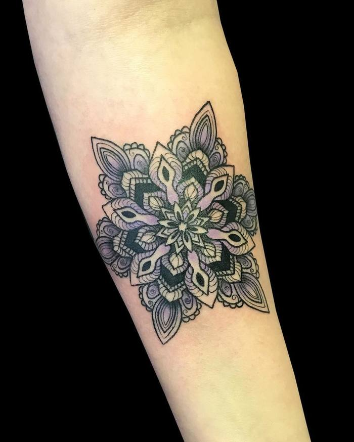 Forearm mandala tattoo by 3 Roses Tattoo