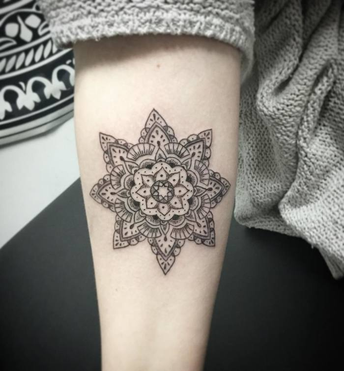 Inner Forearm mandala tattoo by Jasmine Tattooist