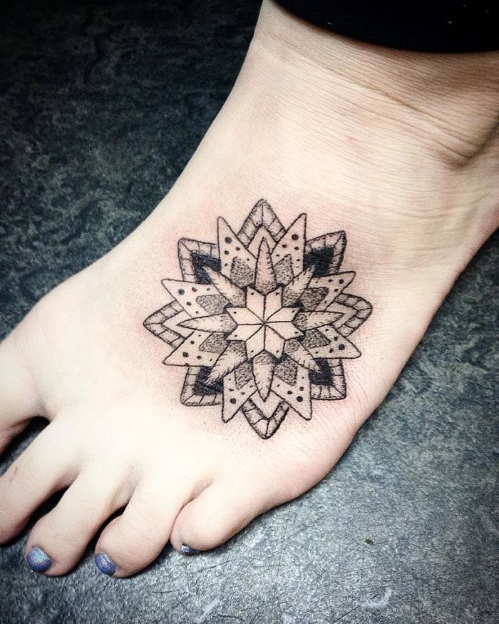 Mandala tattoo on foot by Jasmine Tattooist