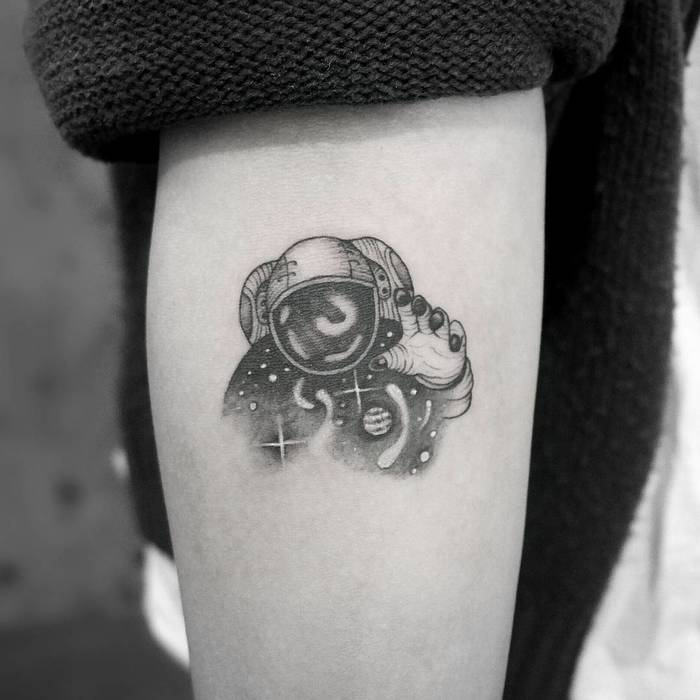 Black and Grey Astronaut Tattoo by tattoowithme