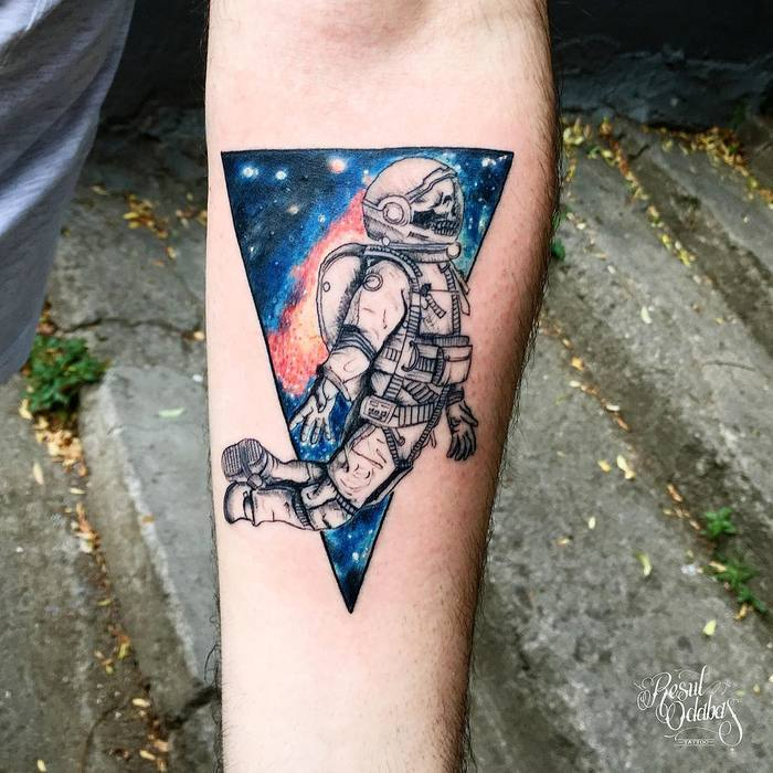 Skeleton Astronaut Tattoo and Galaxy by Resul Odabas