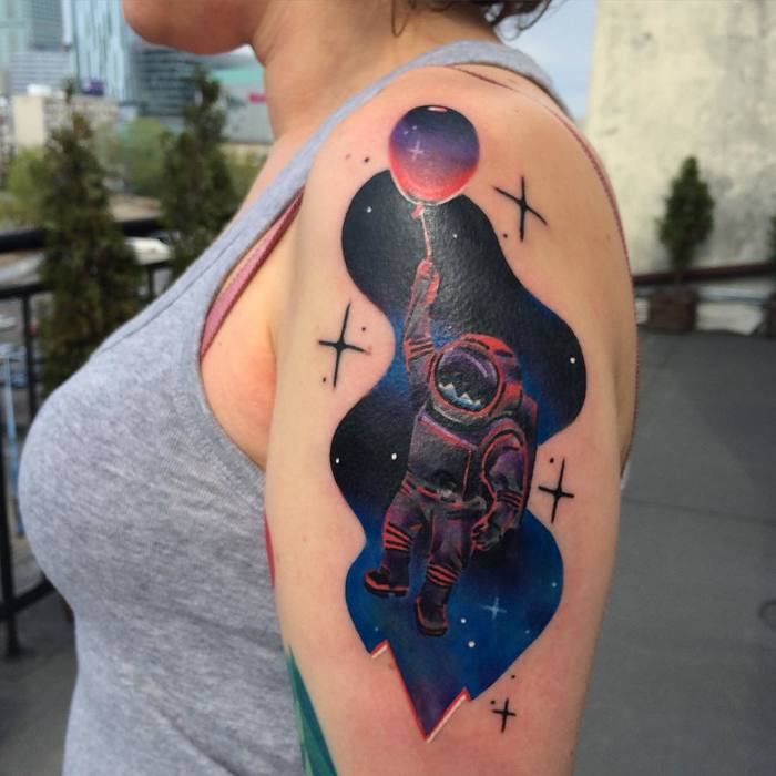 Psychedelic Astronaut Tattoo by Giena Todryk