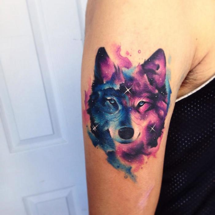 Watercolor Wolf Tattoo By Adrian Bascur