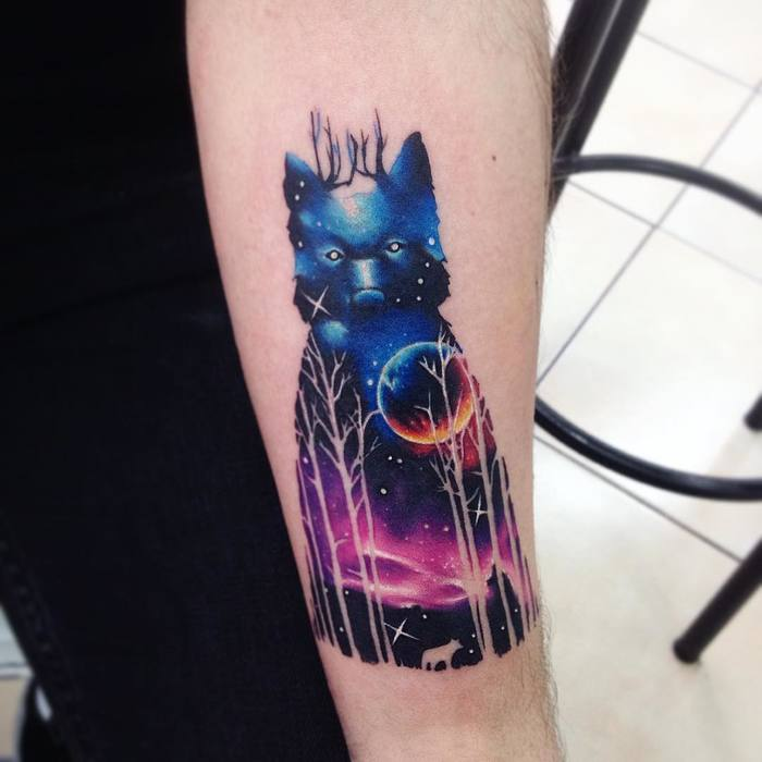 Double Exposure Watercolor Tattoo By Adrian Bascur