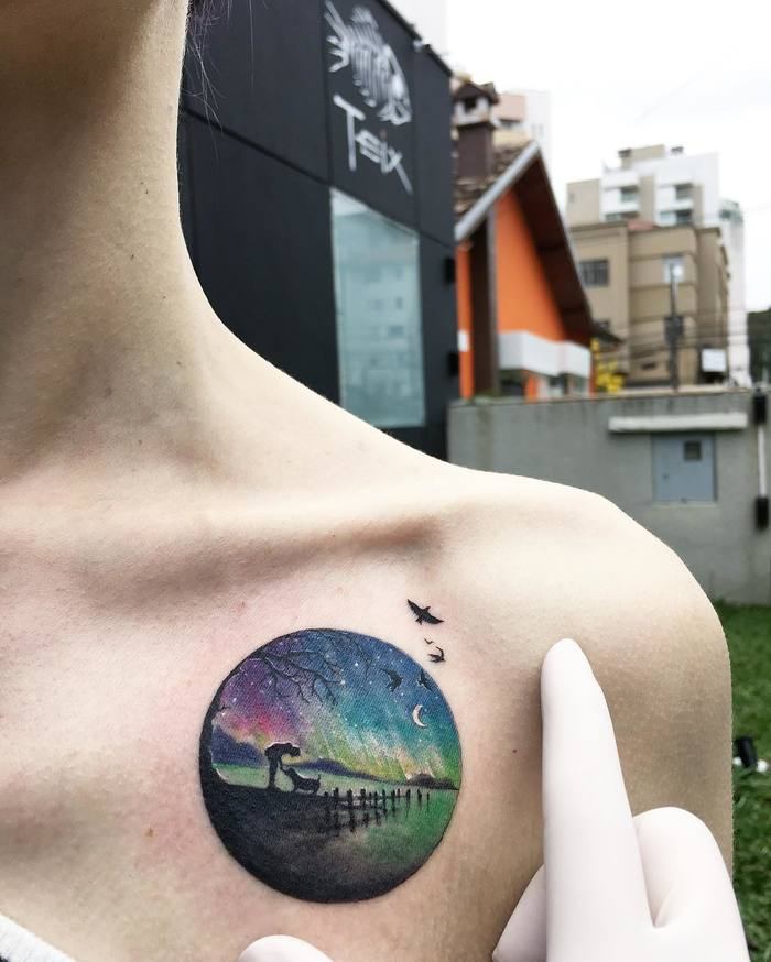 Colorful Tiny Circle Tattoo By Eva Krbdk