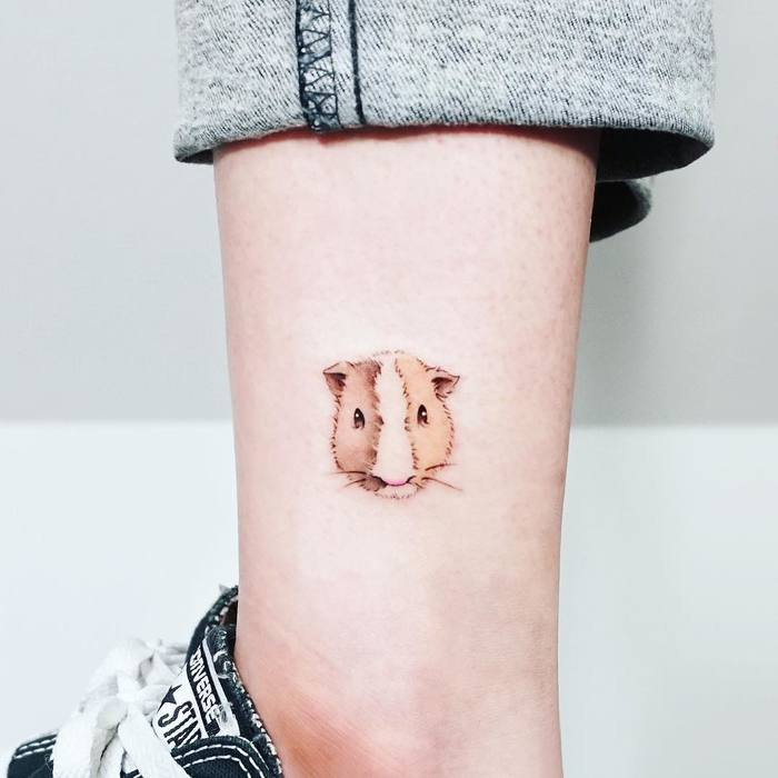 Cute Guinea pig tattoo by Tattooist Ida