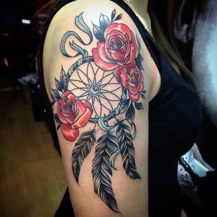 Dreamcatcher Tattoo with Roses by Benga