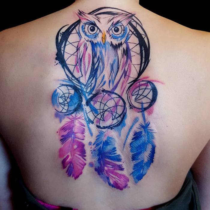 Colored Dreamcatcher Tattoo with Owl by Katka Hollasova