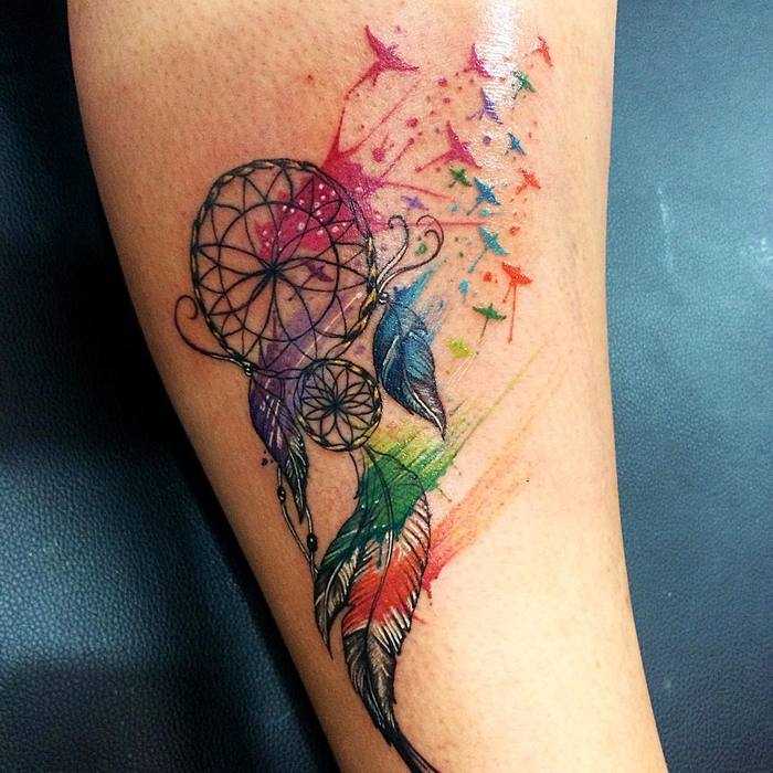 Colorful Dreamcatcher Tattoo by Miguelito