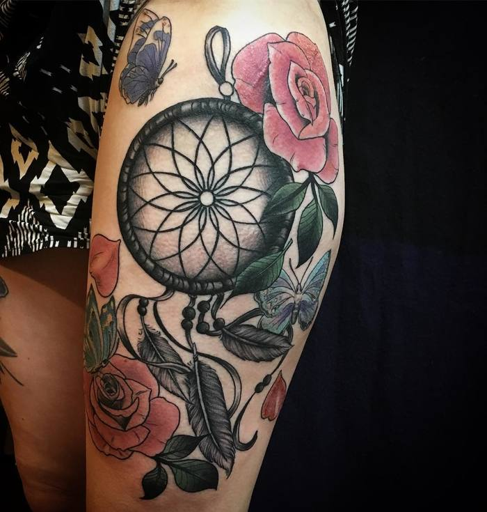 Dreamcatcher Tattoo with Roses and Butterflies by Miz Thompson