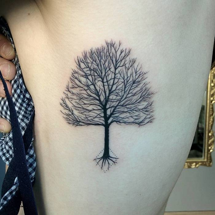 Blackwork Tree Tattoo by Michele Volpi