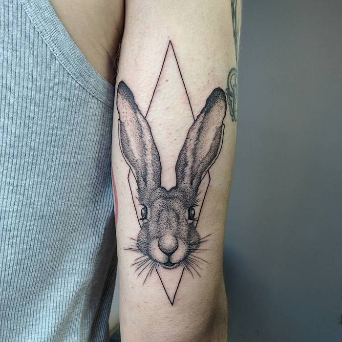 Blackwork Rabbit Tattoo by Michele Volpi