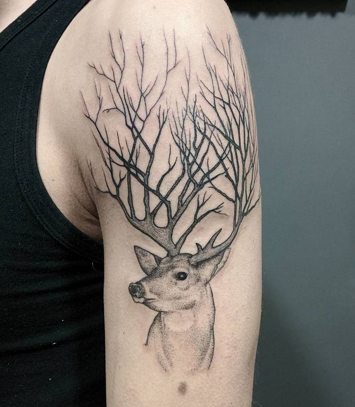 Surreal Deer Tattoo by Michele Volpi