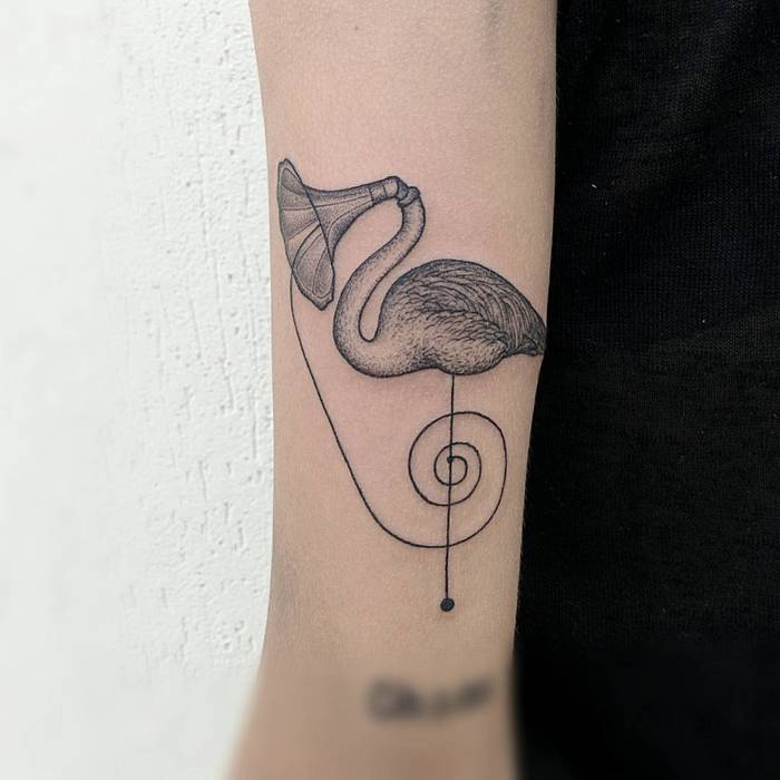 Surreal Flamingo Tattoo by Michele Volpi