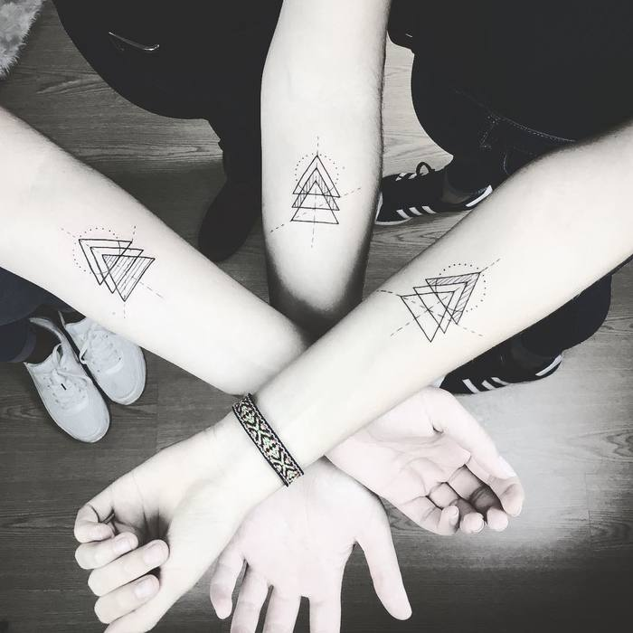 Matching Geometric Tattoos by susboom_tattoo