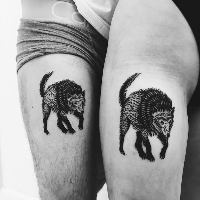 Matching Black Ink Wolves by Nina Waldron