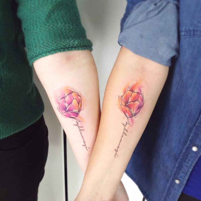 Matching Watercolor Tulips by Adrian Bascur