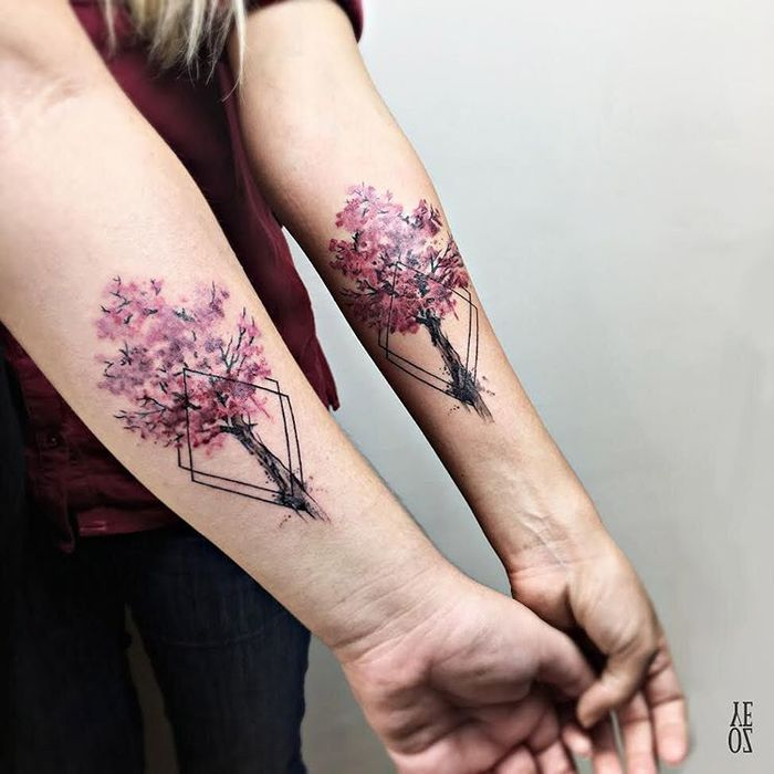 Matching Cherry Blossom Trees on Sisters by Yeliz Ozcan