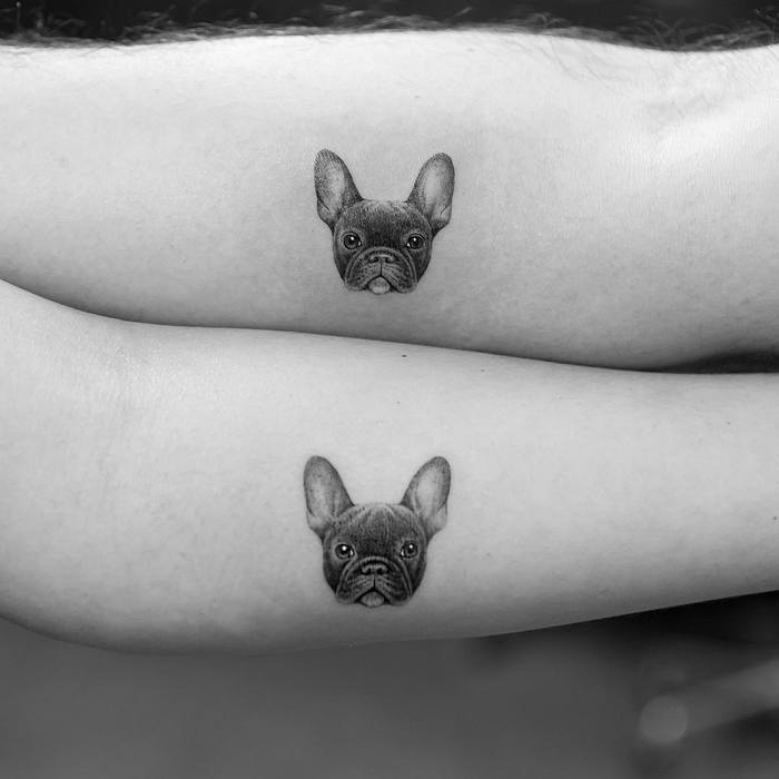 Matching Dog Tattoos on Couple by mr.k_tattoo