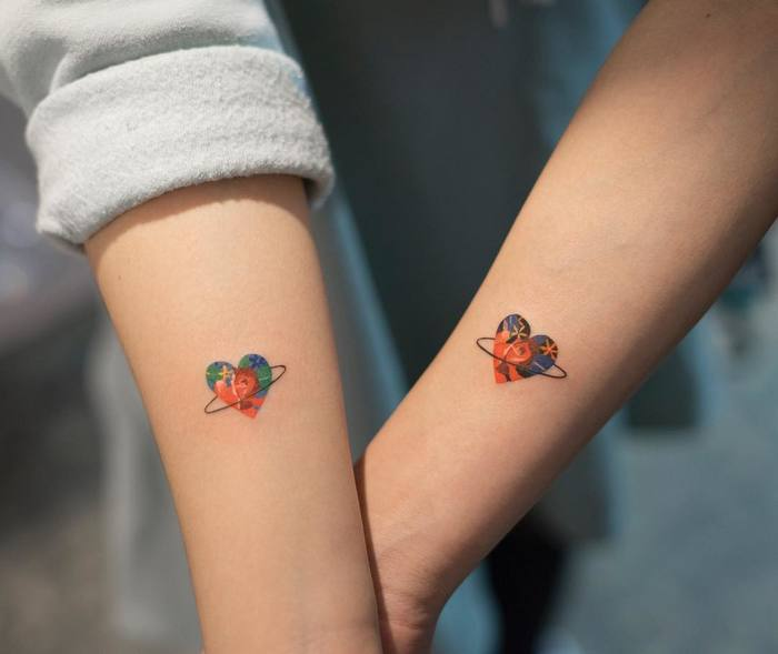 Colorful Matching Hearts by Zihee_tattoo
