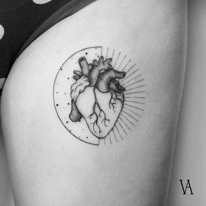 Anatomical Heart Tattoo by Violeta Arus